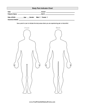 BFreeb Printable bMedical Formsb Body Pain Indicator Chart