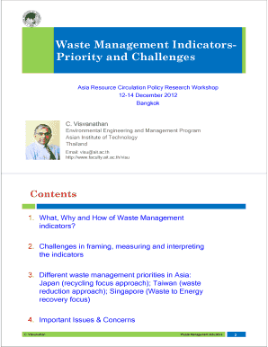 Waste Management IndicatorsPriority and Challenges