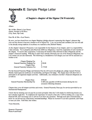 sample pledge letter
