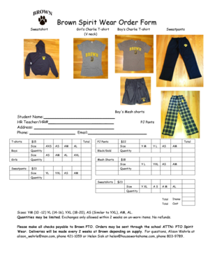 Brown Spirit Wear Order Form - Madison Public Schools - madison k12 ct