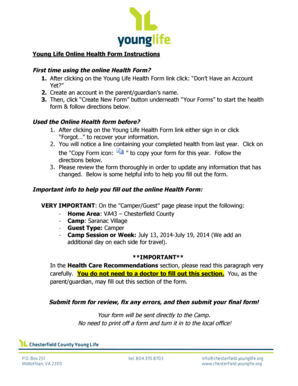 Fillable Online chesterfield younglife Young Life Health Form ...