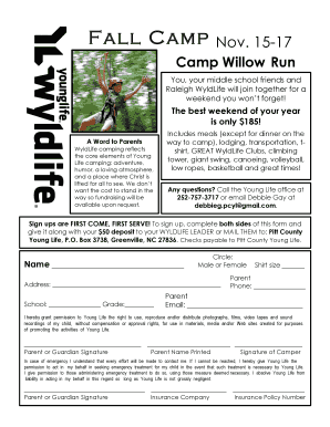 Fillable Online pittcounty younglife Fall 2013 Camp Flyer and ...