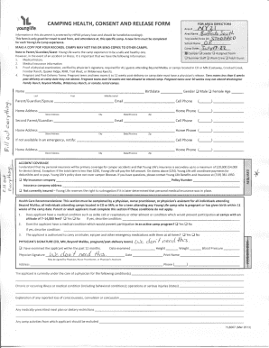 Fillable Online buffalosouth younglife YL Camping Health Form ...