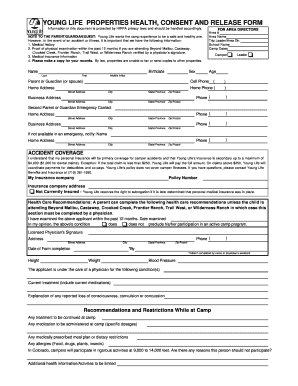 Fillable Online New YL Health Form - Young Life Washington County ...