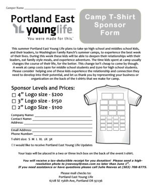 Fillable Online Sponsor T-shirt Form 2014 - Portland East Young Life