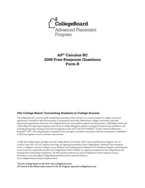 Fillable Online AP 2006 Calculus BC Form B FRQ - CalculusQuestions ...