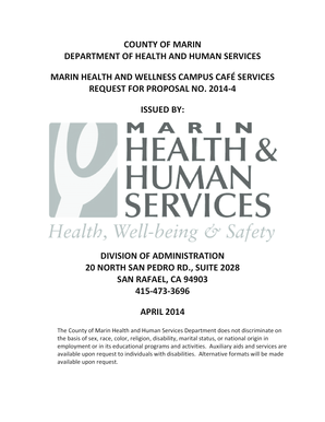Fillable Online Marincounty County Of Marin Department Of Health And