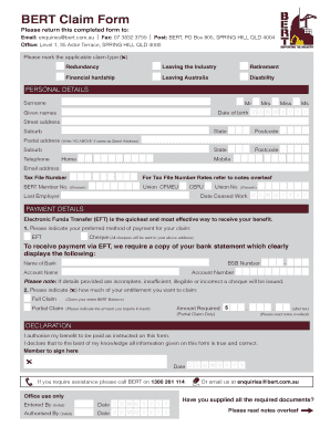 Fillable Online BERT Claim Form indd - bert com au Fax Email