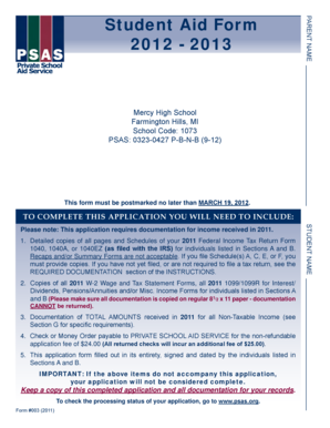 Student Aid Form 2012 - 2013 - Mercy High School - mhsmi
