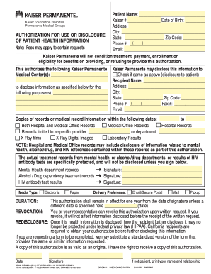 Filled Out Kaiser Authorization For Use And Disclosure Of Patient ...