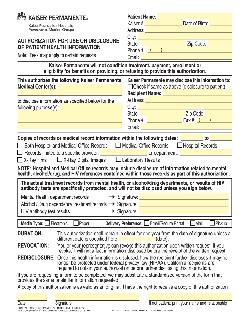 filled out kaiser authorization for use and disclosure of