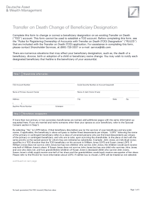 Fillable Online Transfer On Death Change Of Beneficiary Designation Form 40b Fax Email Print