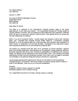 Sample Cover Letter - Thomas Jefferson University