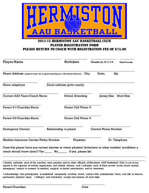 Basketball Player Registration Forms - Fill Online, Printable ...