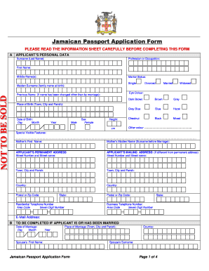 Fillable Online Jamaican Passport Application Form - jamaica ...