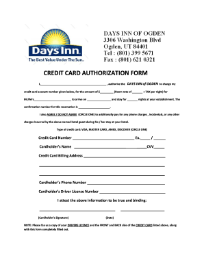 Credit Card Authorization Form Hotel - Fill Online, Printable ...