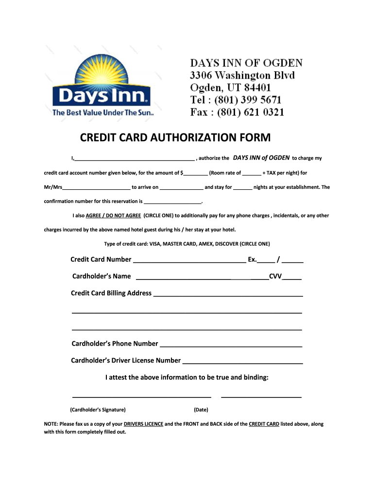 Hotel Credit Card Authorization Form Fill Online