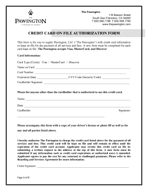 CREDIT CARD ON FILE AUTHORIZATION FORM - The Pawington