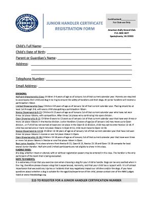 Fillable Online theabkcdogs Junior Handler Registration Form ...