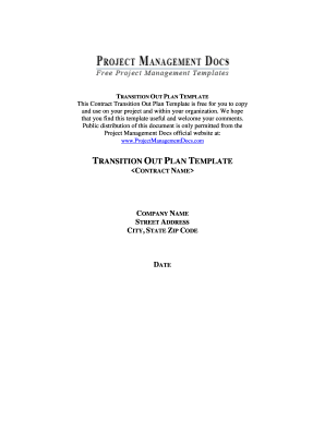 Transition Out Plan Template - Free Project Management Templates