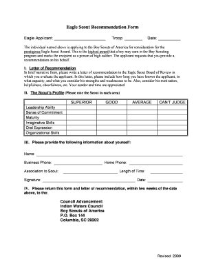 Fillable Online Eagle Scout Recommendation Form - Indian Waters ...