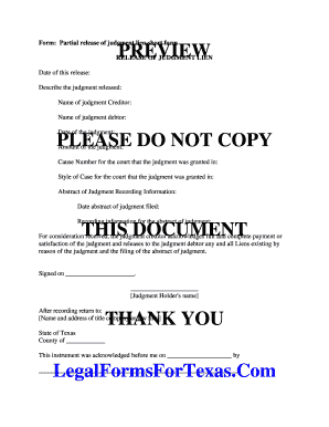 Editable partial release of judgment lien form texas Form