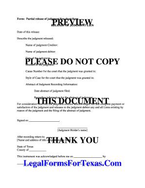 Editable partial release of judgment lien form texas Form