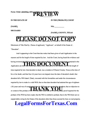 Fillable Online Form: Order admitting will to probate as a ...