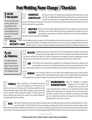 photograph relating to Name Change Checklist Printable known as Write-up-Marriage ceremony Reputation Distinction Fill On-line, Printable, Fillable