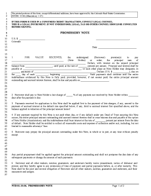 Fillable Online NTD 81 10 06 Promissory Note For Deed Of Trust