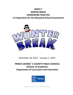 pgcps winter homework