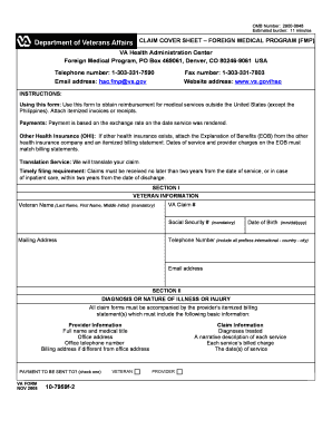 Claim Cover Sheet Form 10 7959f