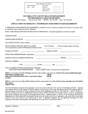 Application to Operate a Temporary Food Service Establishment - victoriacountytx