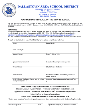 Property Tax Rebate Form - Fill Online, Printable, Fillable, Blank ...
