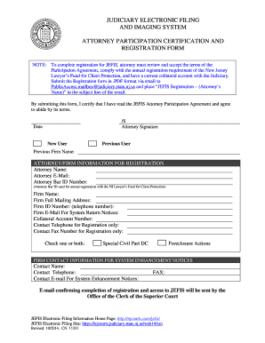 JEFIS Attorney Participation Certification and Registration Form