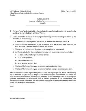 Fillable Online Manufactured Housing Unit - ALTA Form 7.1-06/CLTA ...