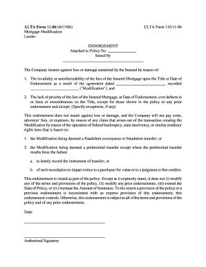 Fillable Online ALTA Form 11-06 Mortgage Modification Lender Fax ...