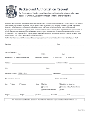 Background Check Authorization form - Oakland University - oakland