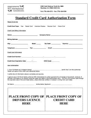 standard credit card authorization form