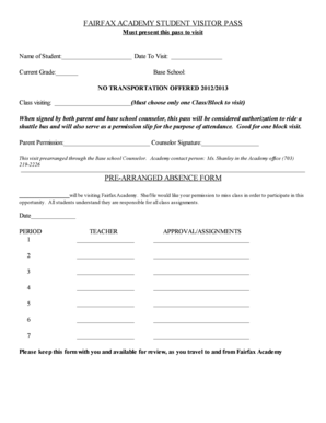 Fillable Online fcps Cedar Lane Visitor Pass pdf - fcps Fax Email