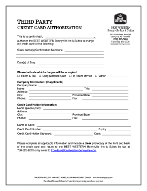 hotel credit card authorization form template - Fillable ...