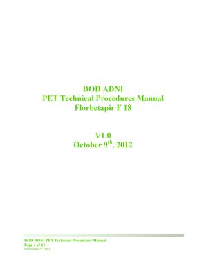 Fillable Online adni loni usc DOD ADNI PET Technical