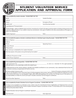 STUDENT VOLUNTEER SERVICE APPLICATION AND APPROVAL FORM