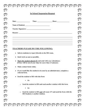 In School Suspension Forms in school suspension forms