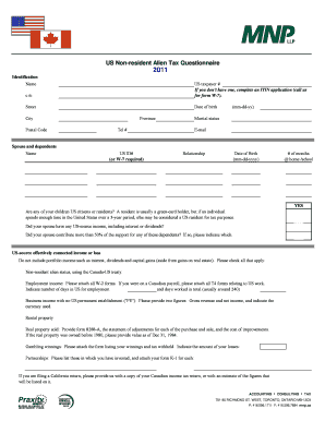 2011 US Non-Resident Questionnaire.xlsm. Application for IRS Individual Taxpayer Identification Number
