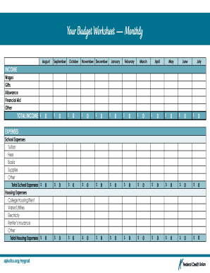 Your Budget Worksheet Monthly