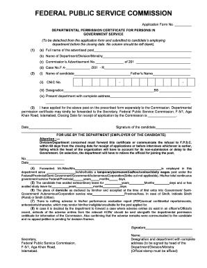 Certificate Ofdepartmental Permesion - Fill Online
