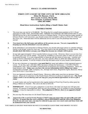 Form # 1000 SC Rev   Orleans Parish Civil District Court