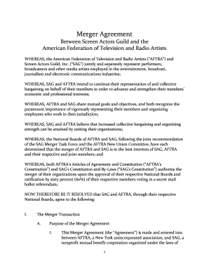Merger Agreement Sag Aftra Fill Online Printable