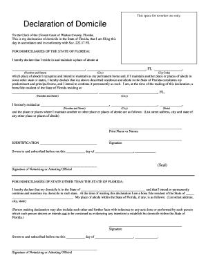 Fillable Online Declaration of Domicile - Walton County, Florida ...